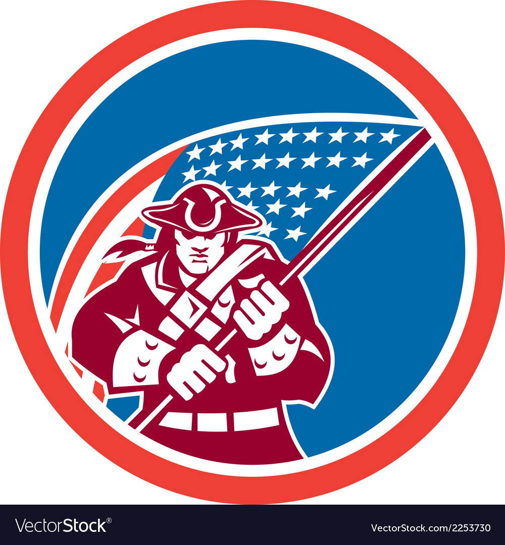 American patriot holding flag circle vector | Price: 1 Credit (USD $1)