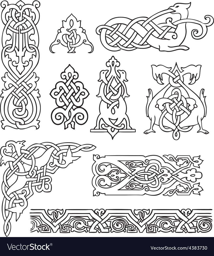 Antique old russian ornaments set vector | Price: 1 Credit (USD $1)