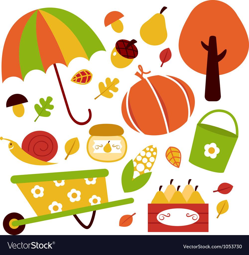 Autumn garden elements vector | Price: 1 Credit (USD $1)