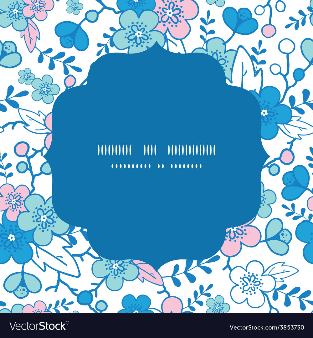 Blue and pink kimono blossoms circle frame vector   Price: 1 Credit (USD $1)