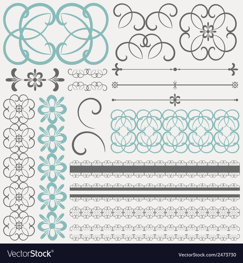 Collection of ornamental design elements and vector | Price: 1 Credit (USD $1)