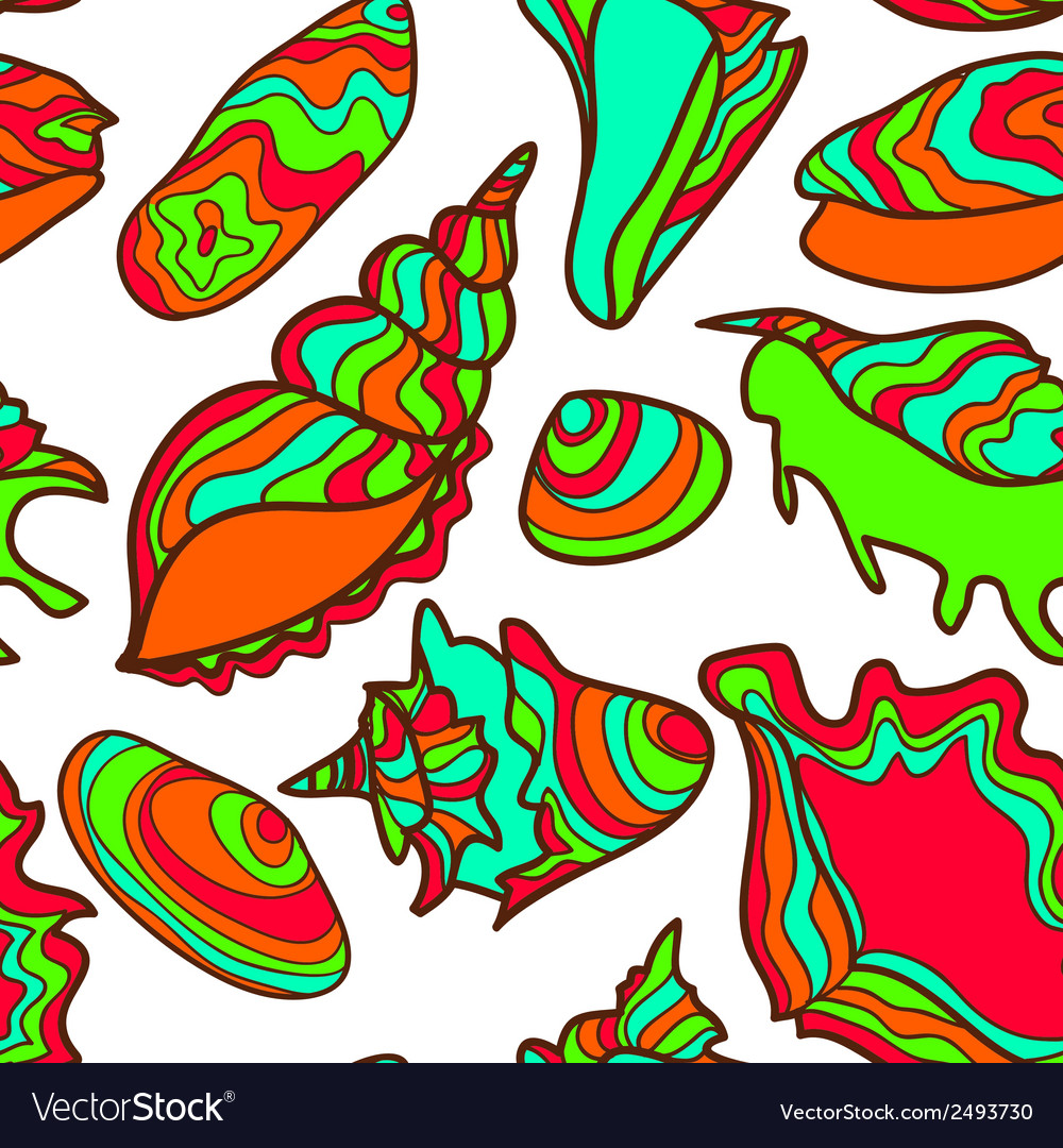 Colorful vibrant seamless seashell pattern vector   Price: 1 Credit (USD $1)