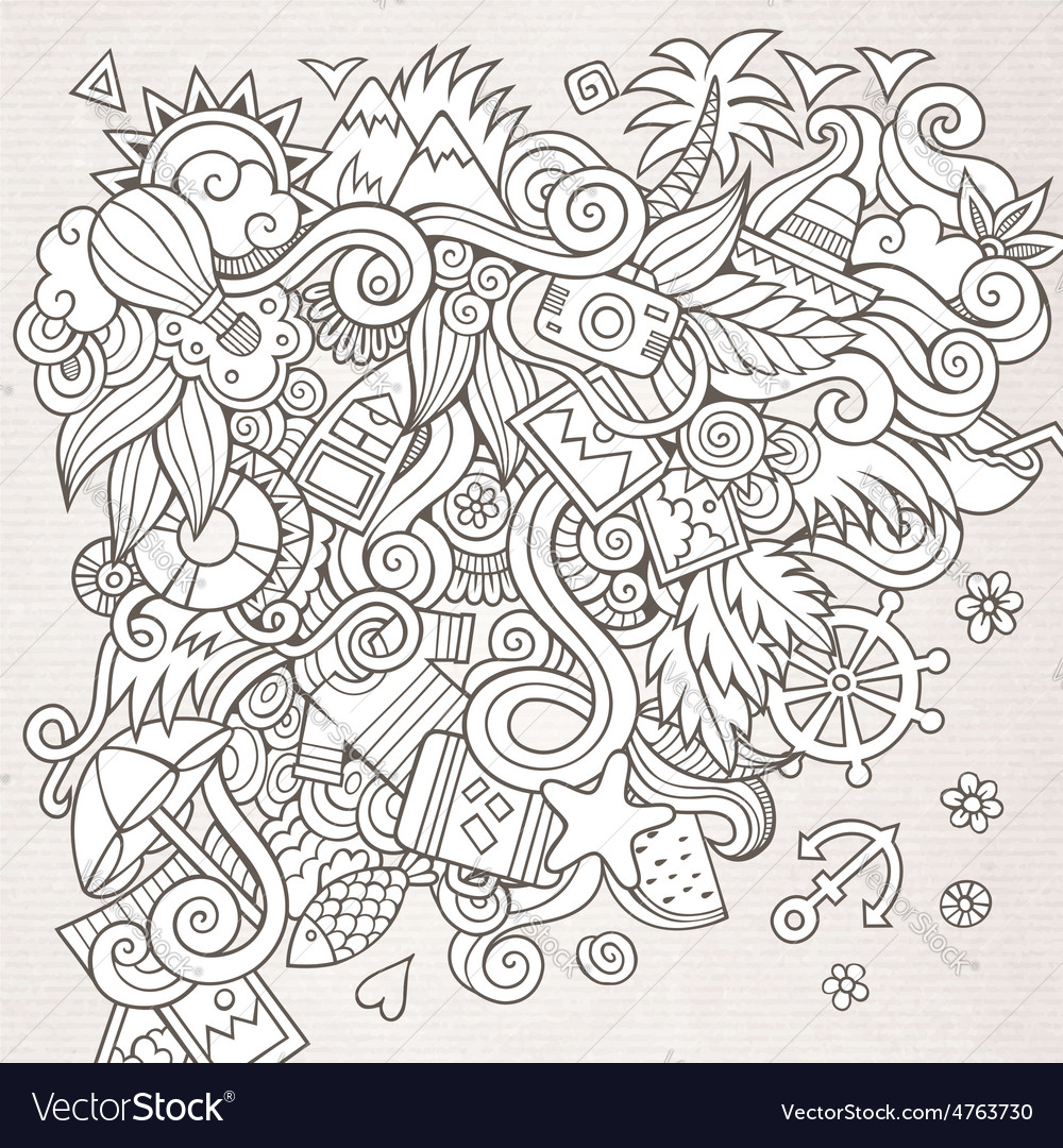 Doodles abstract decorative summer sketch vector | Price: 1 Credit (USD $1)