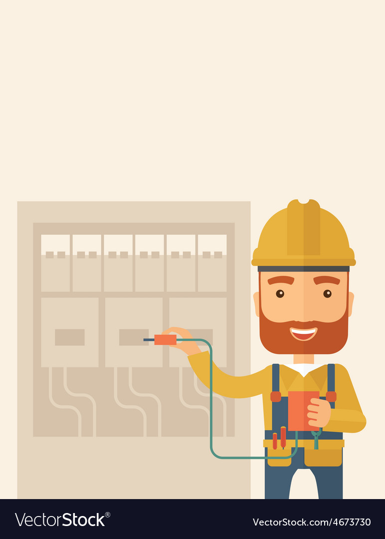 Electrician repairing an electrical panel vector | Price: 1 Credit (USD $1)