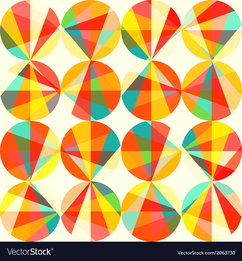 Geometric pattern of circles and triangles colored vector | Price: 1 Credit (USD $1)