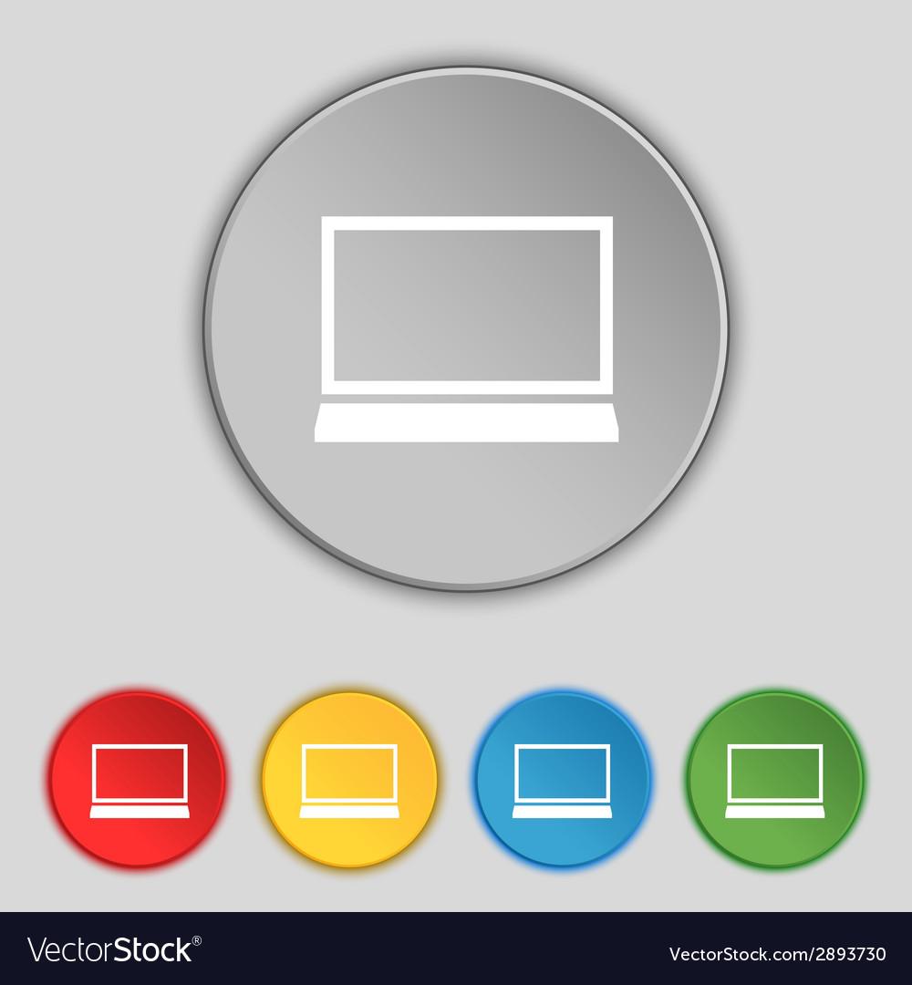 Laptop sign icon notebook pc symbol set colur vector | Price: 1 Credit (USD $1)