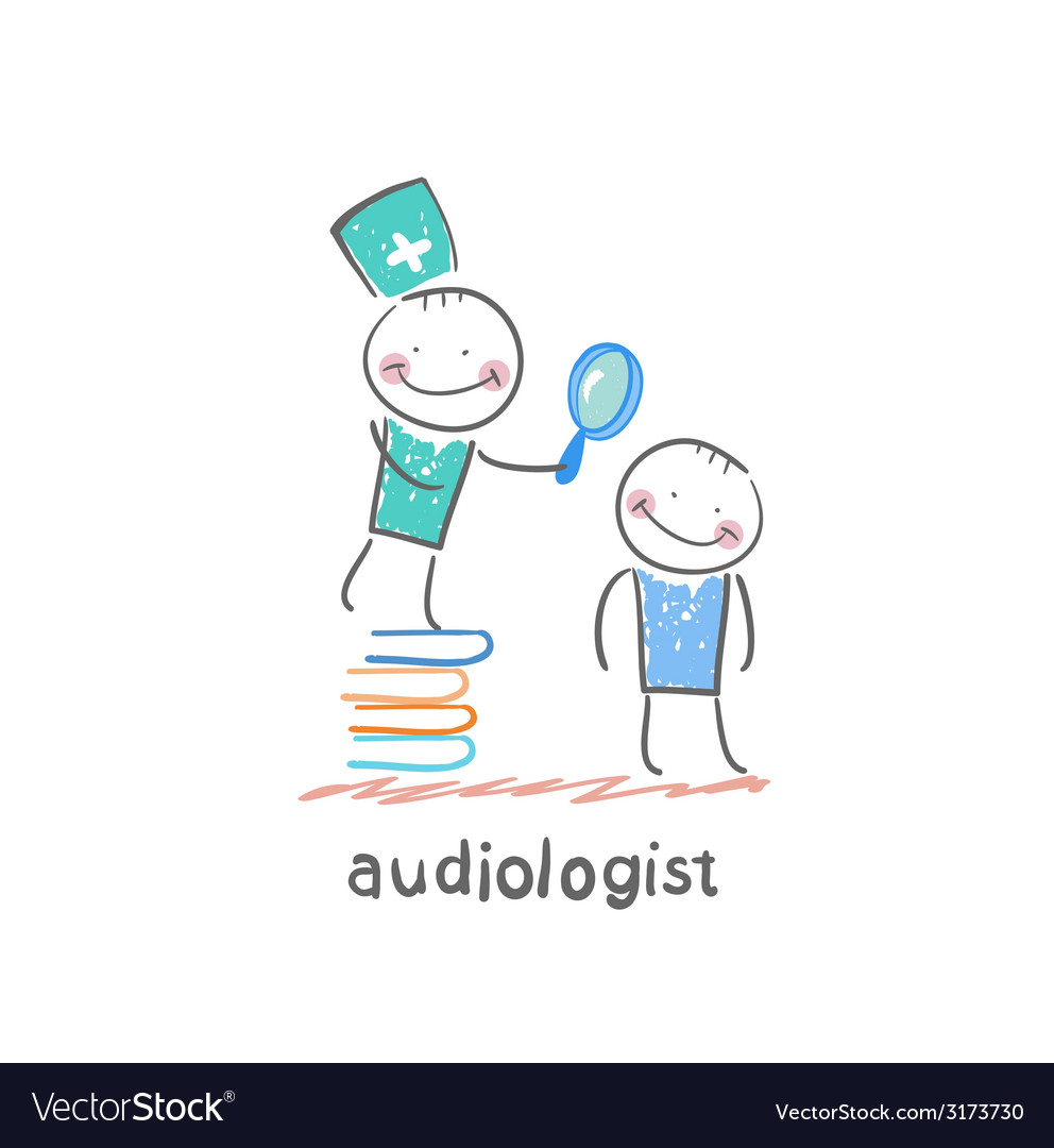 Otolaryngologist stands on a pile of books and vector | Price: 1 Credit (USD $1)