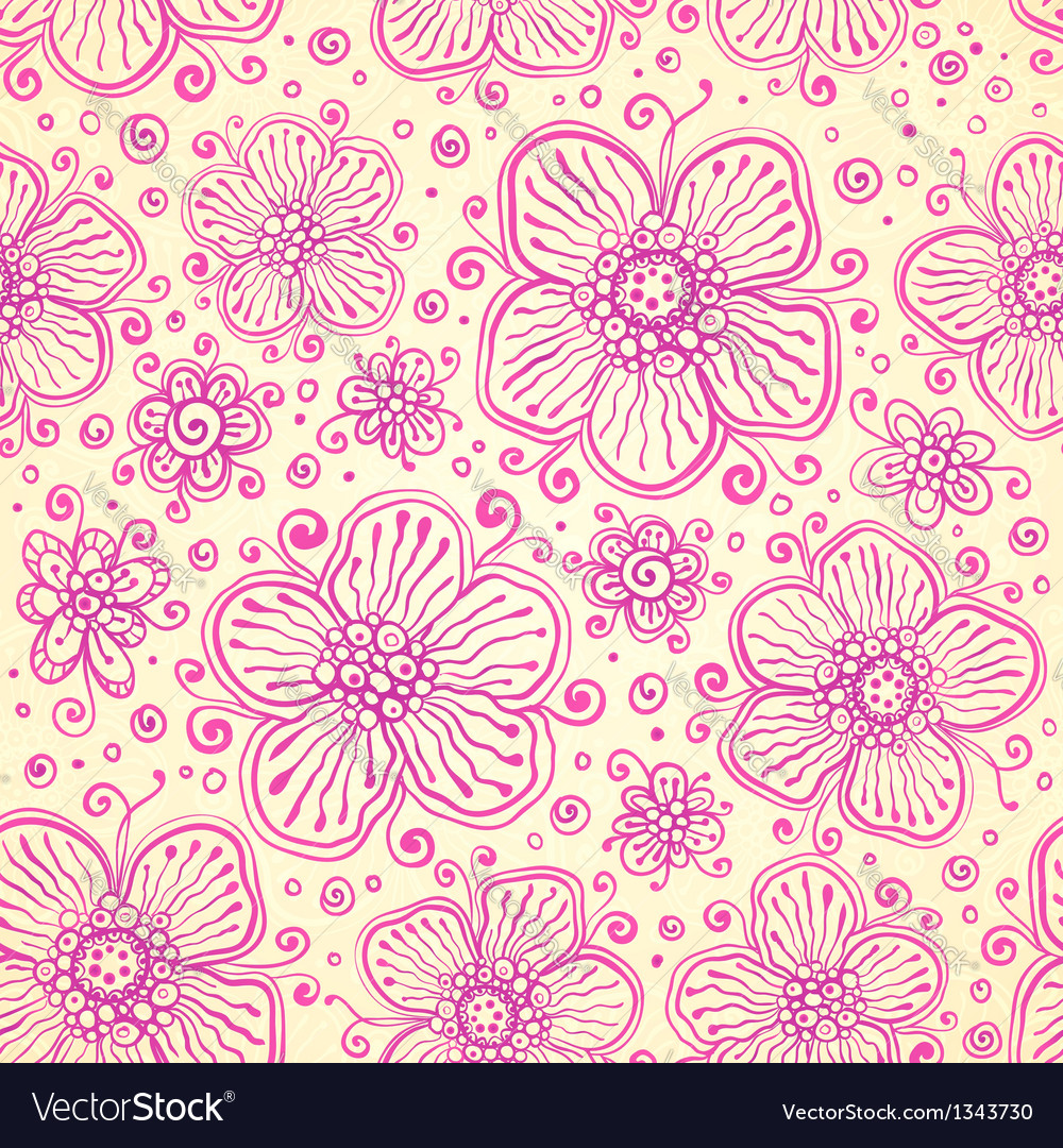 Pink colors flourish seamless pattern vector | Price: 1 Credit (USD $1)