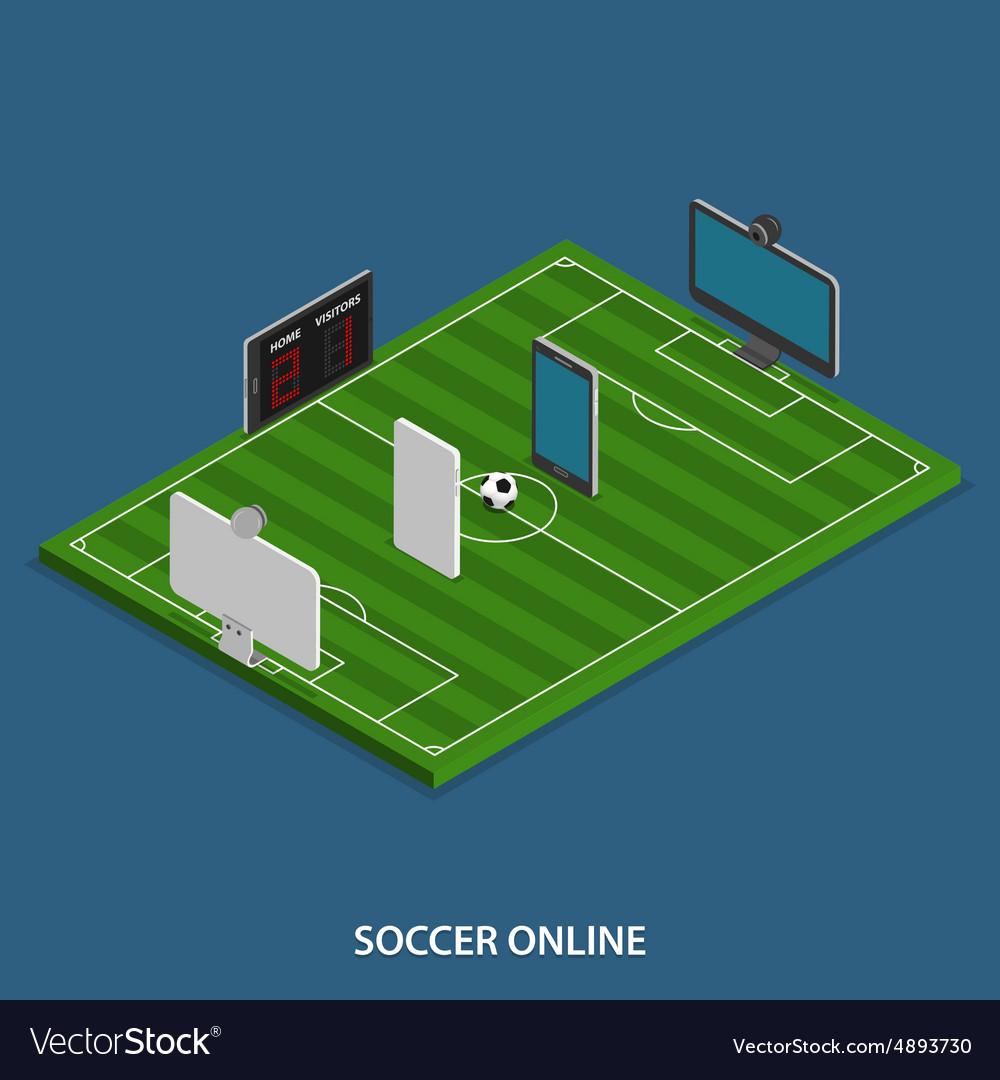 Soccer online isometric concept vector