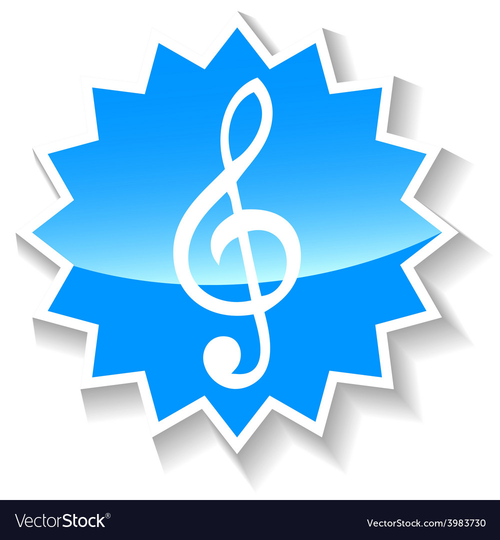 Treble clef blue icon vector | Price: 1 Credit (USD $1)