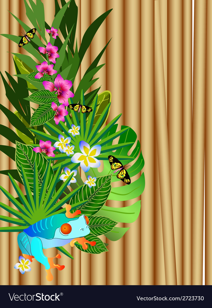 Tropical flowers and leaves over wood bright vector | Price: 1 Credit (USD $1)