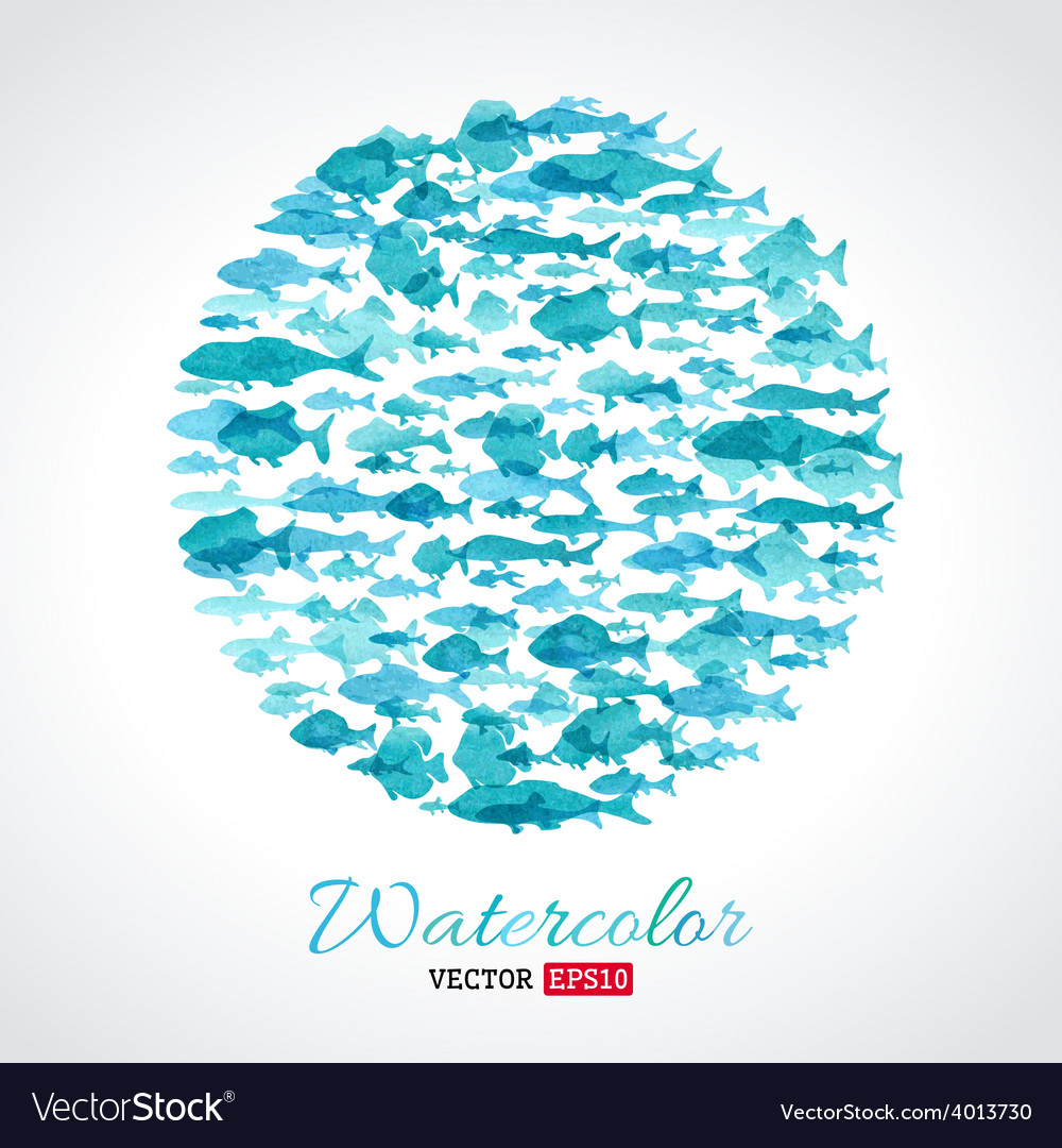 Watercolour fish background vector | Price: 1 Credit (USD $1)