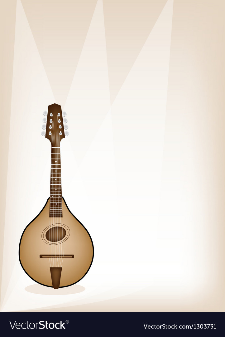 A beautiful antique mandolin on brown stage vector | Price: 1 Credit (USD $1)