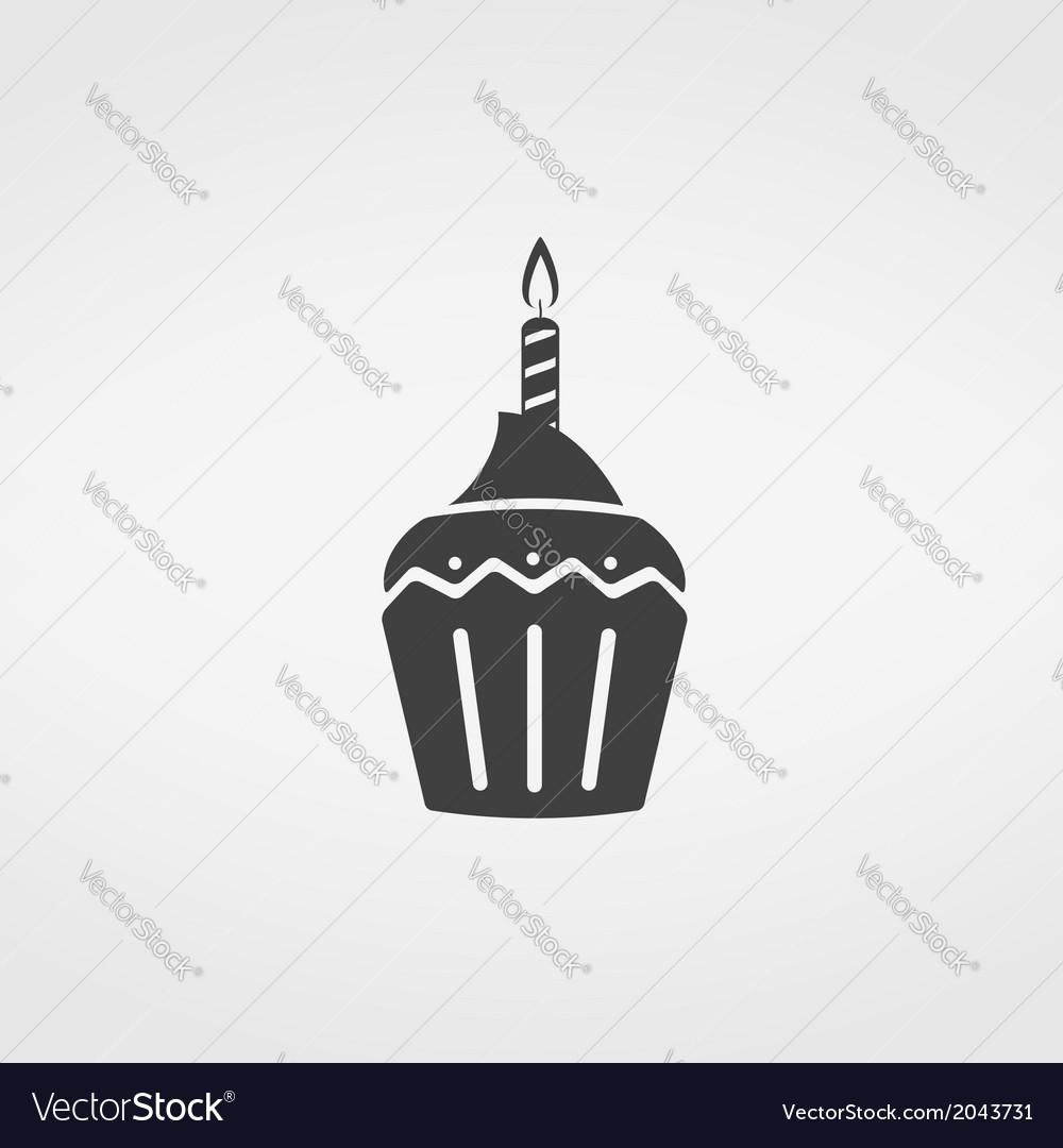 Birthday cupcake icon vector | Price: 1 Credit (USD $1)