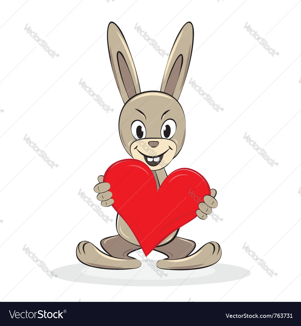 Cartoon funny rabbit holds big red heart vector | Price: 1 Credit (USD $1)