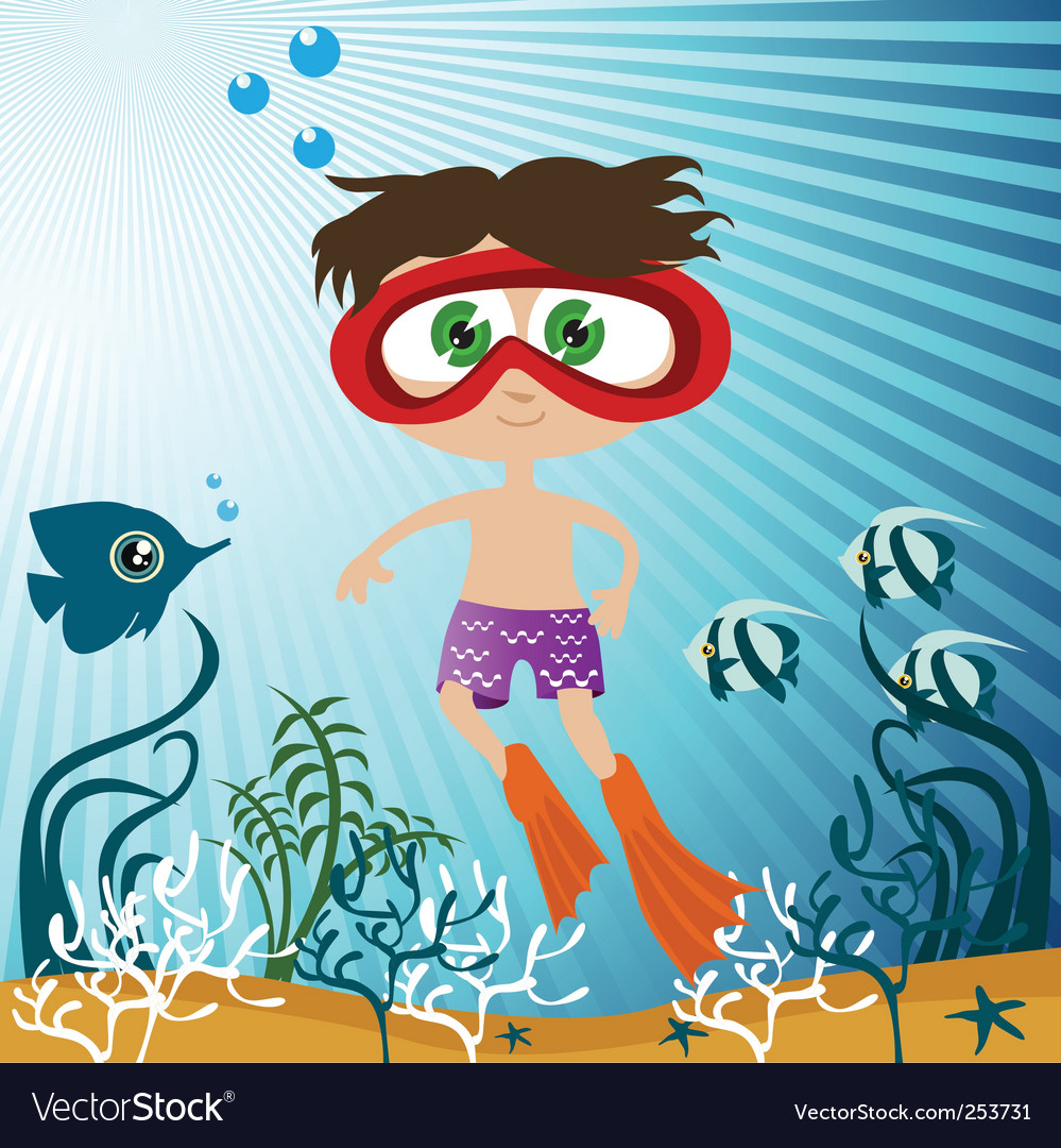 Children in the sea vector | Price: 1 Credit (USD $1)