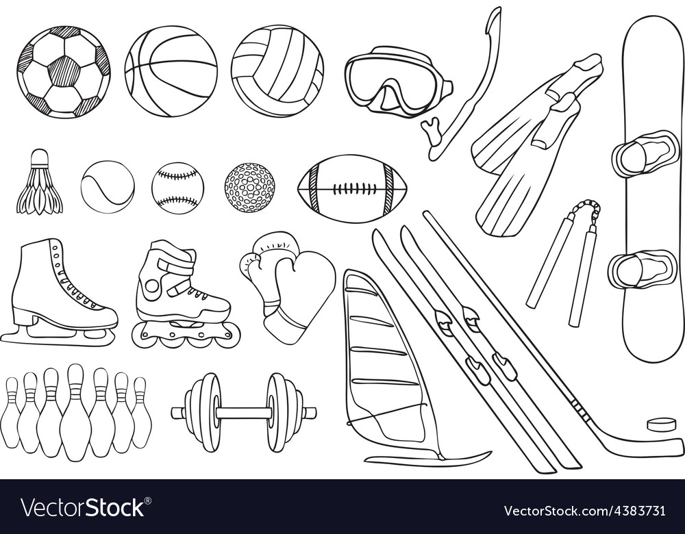 Different sport items set vector | Price: 1 Credit (USD $1)