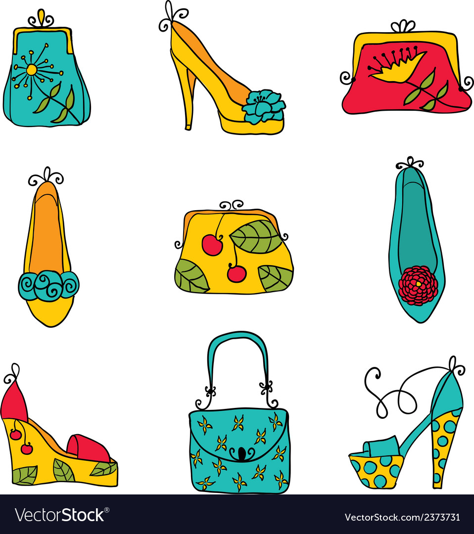Fashion collection ladies bags and shoes vector   Price: 1 Credit (USD $1)