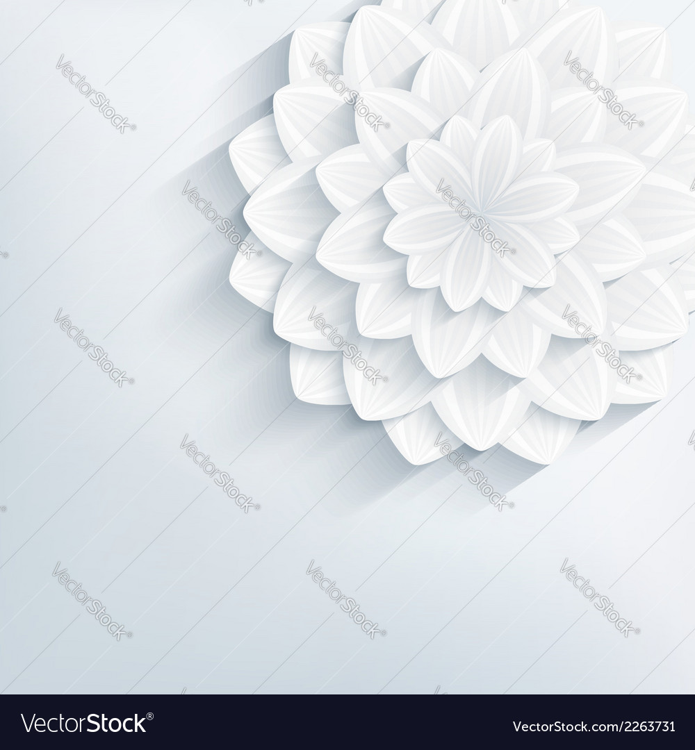 Floral abstract grey background with 3d flower vector | Price: 1 Credit (USD $1)
