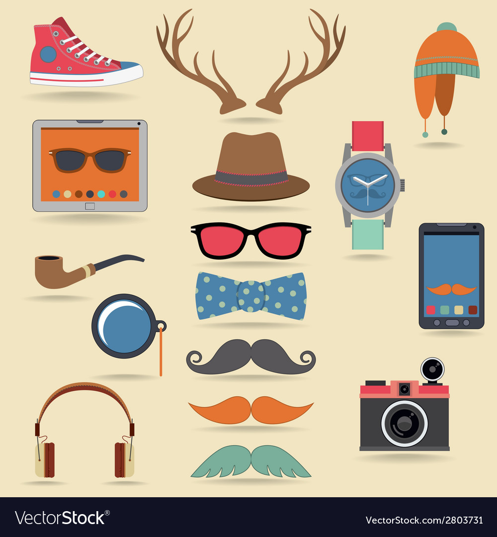 Hipster elements set vector | Price: 1 Credit (USD $1)