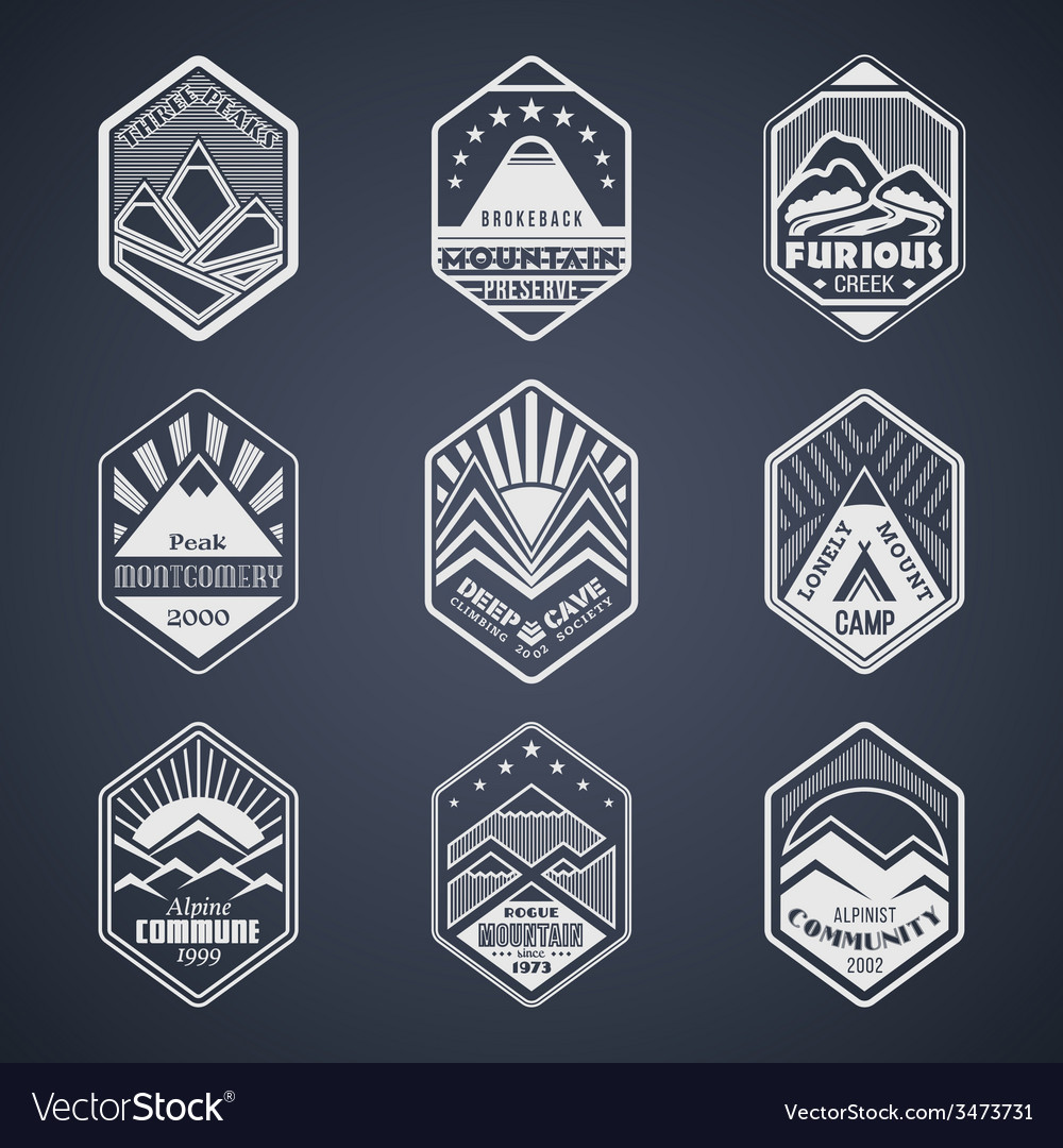 Mount badge set1white vector | Price: 1 Credit (USD $1)