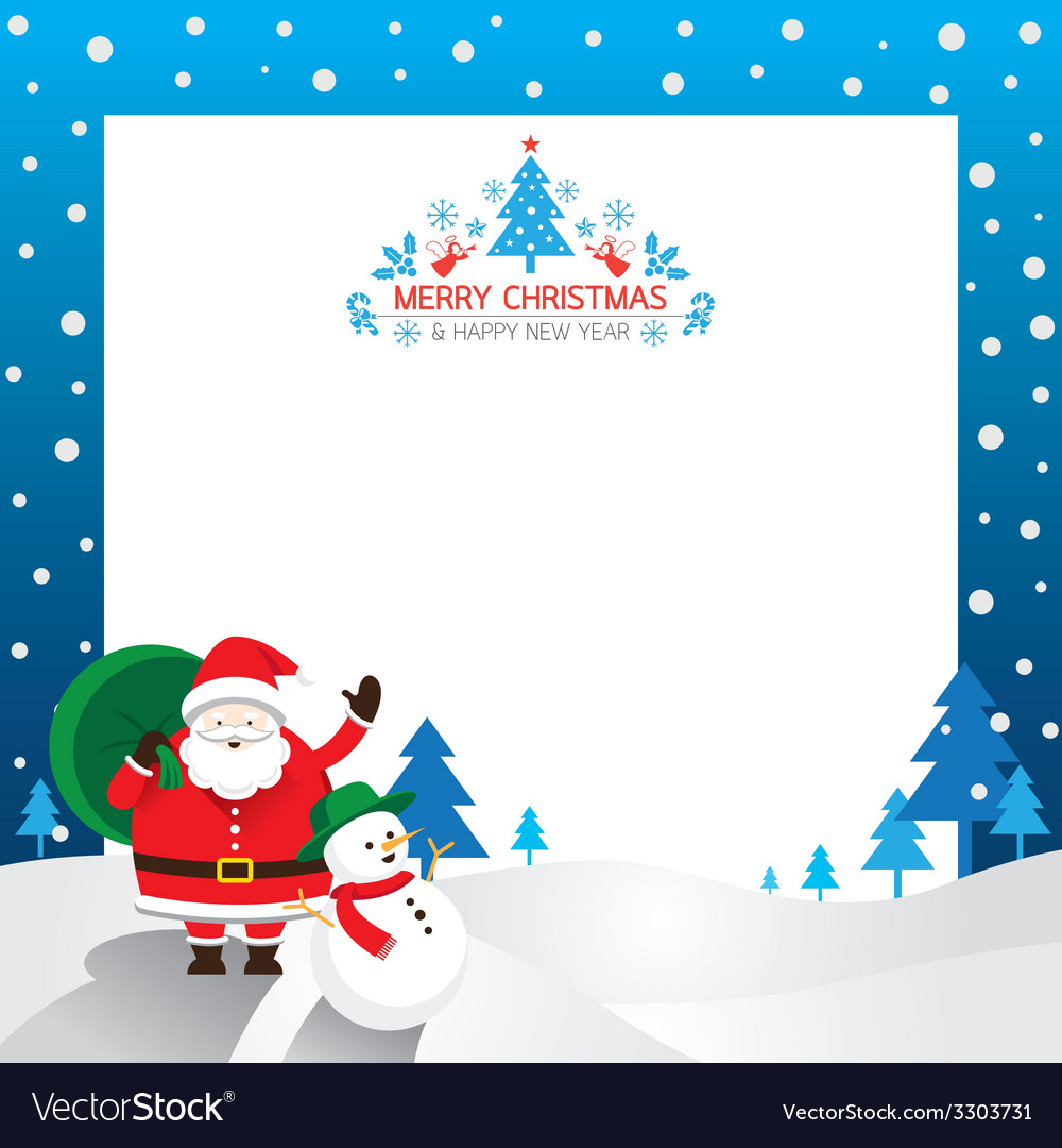Santa snowman border vector | Price: 1 Credit (USD $1)