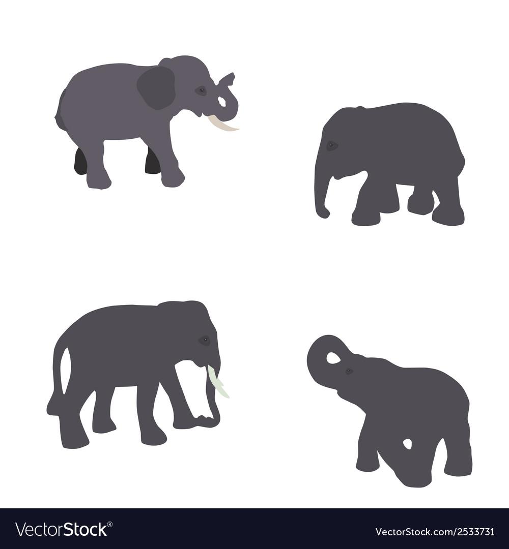 Set of elephant isolated on white background eps10 vector | Price: 1 Credit (USD $1)