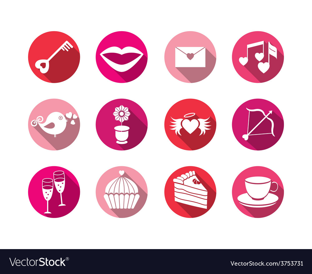 Set valentines day buttons signs vector | Price: 1 Credit (USD $1)