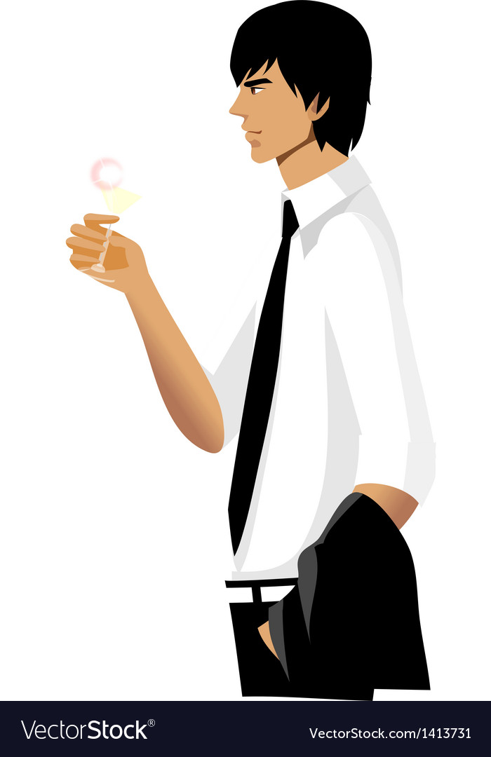 Side view of man holding glass vector | Price: 3 Credit (USD $3)