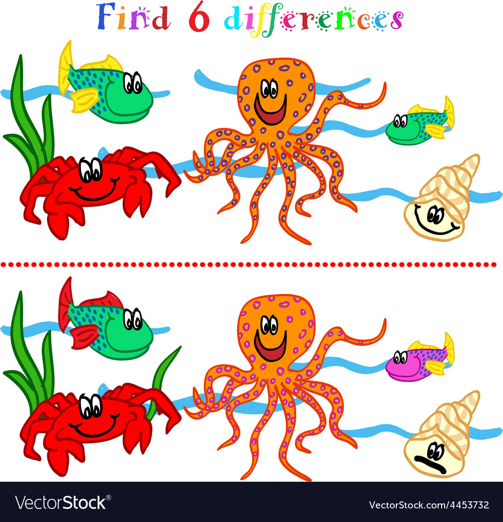 Difference game with marine life vector | Price: 1 Credit (USD $1)