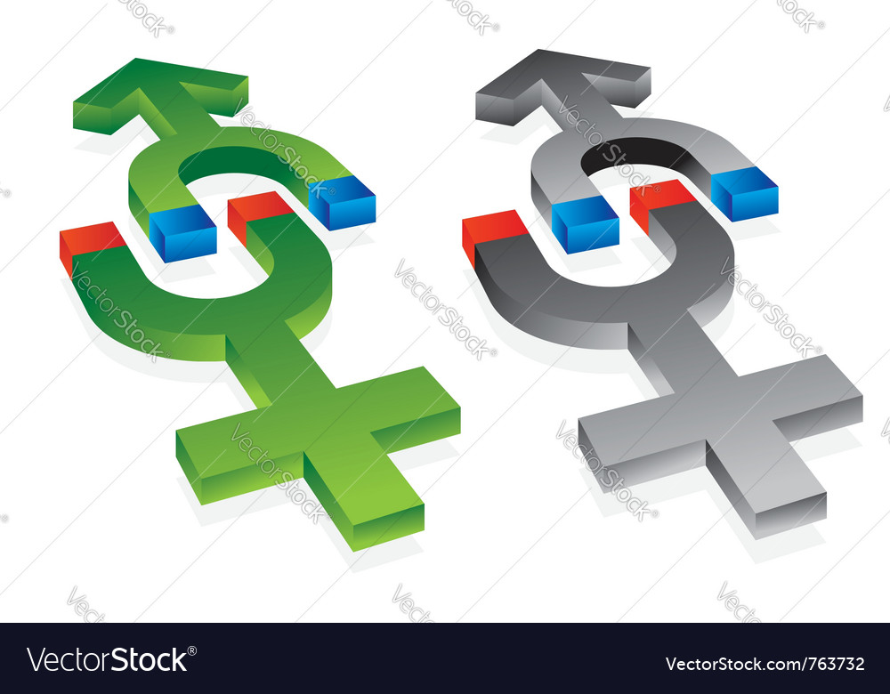 Gravitation of male and female symbol vector | Price: 1 Credit (USD $1)