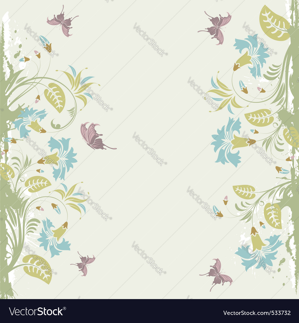 Grunge decorative floral frame with butterfly elem vector | Price: 1 Credit (USD $1)