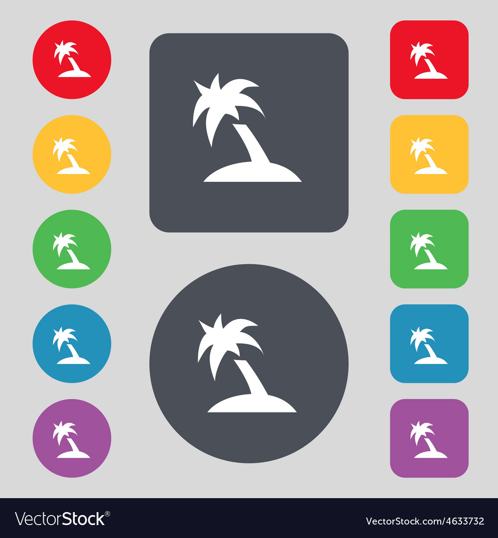 Palm tree travel trip icon sign a set of 12 vector | Price: 1 Credit (USD $1)