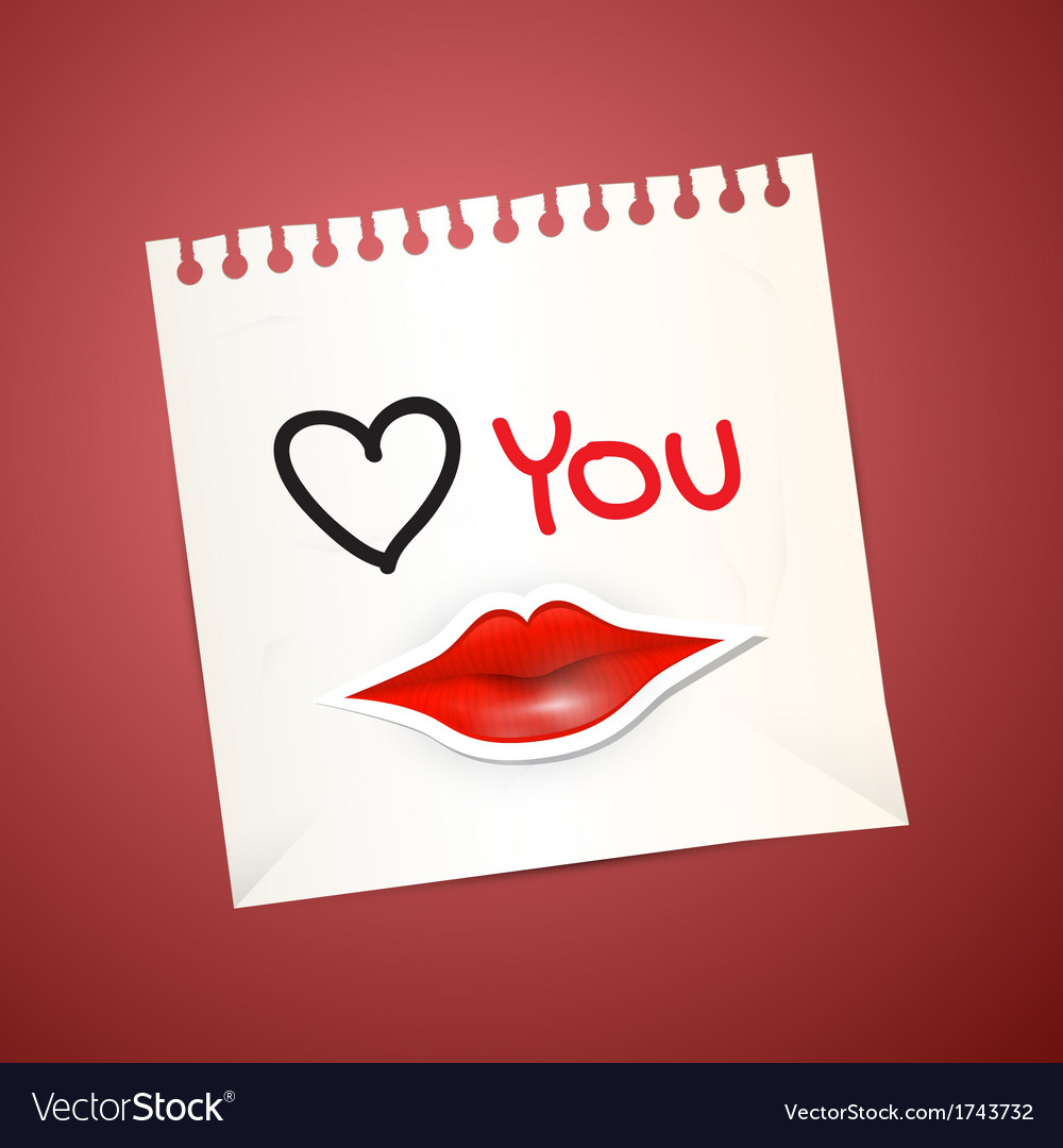 Paper sheet with love you title and paper mouth vector | Price: 1 Credit (USD $1)