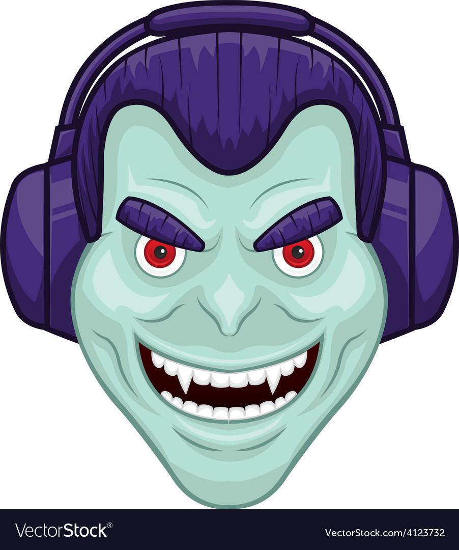 Vampire with headphones vector   Price: 1 Credit (USD $1)