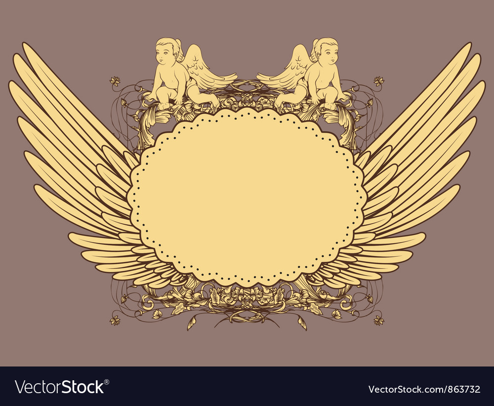 Vintage emblem with wings vector   Price: 1 Credit (USD $1)
