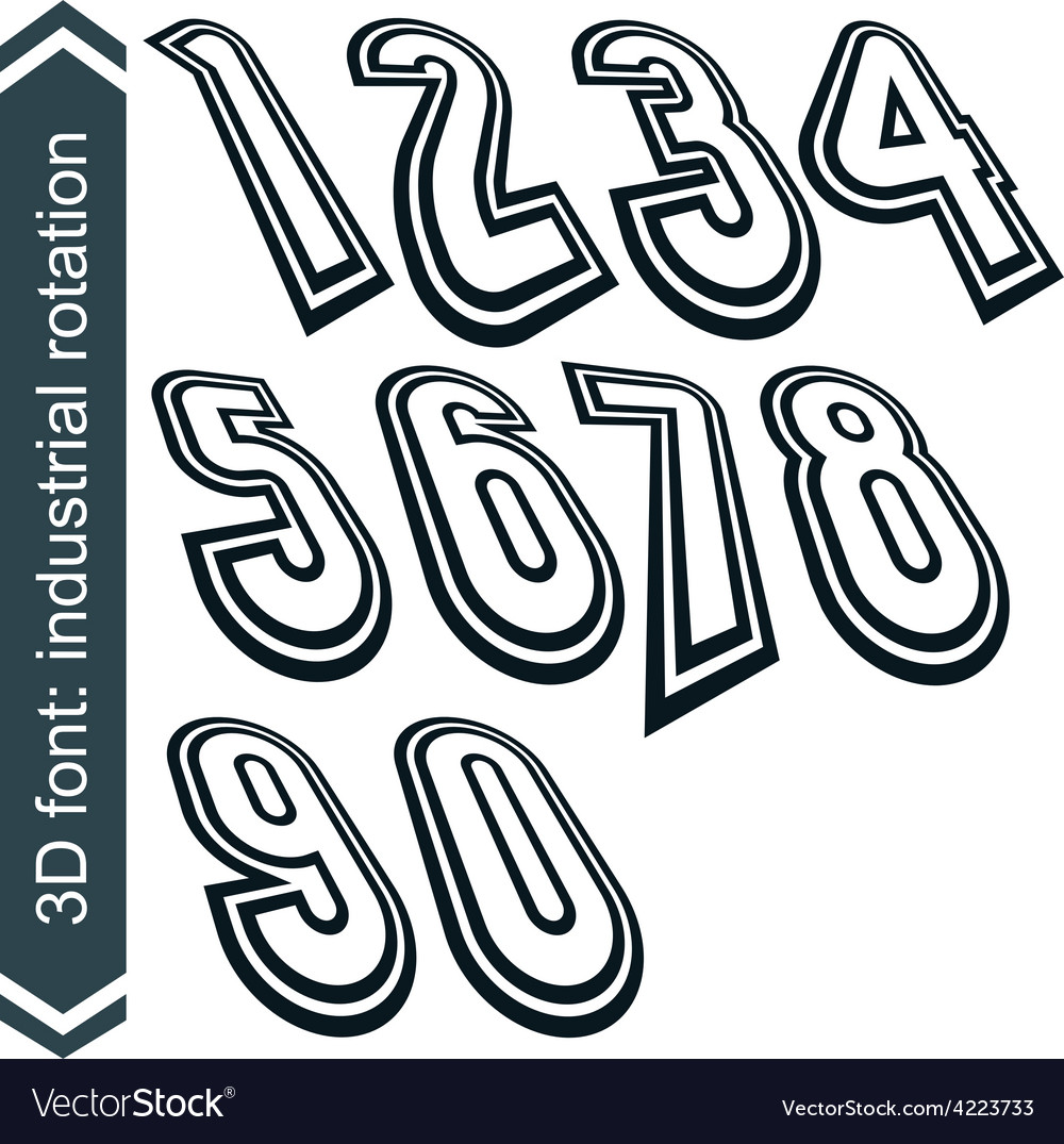 3d retro numbers in rotation stylish numeration vector   Price: 1 Credit (USD $1)