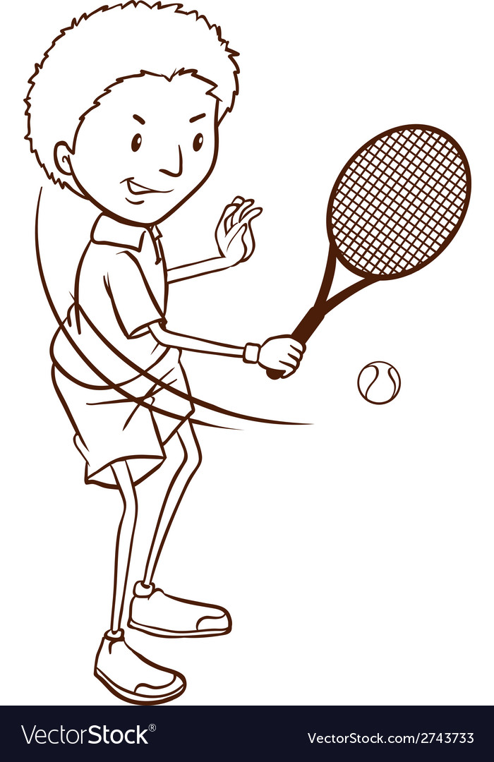 A simple sketch of a boy playing tennis vector | Price: 1 Credit (USD $1)
