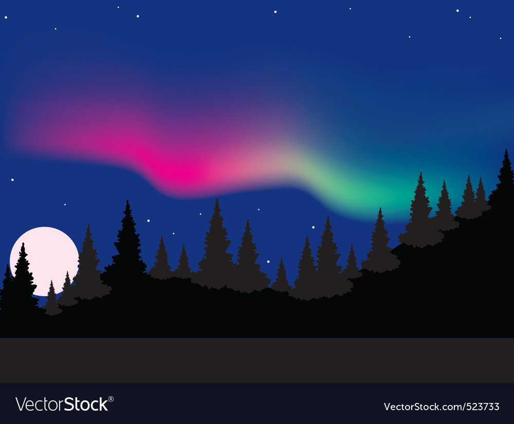 aurora polaris over forest vector | Price: 1 Credit (USD $1)