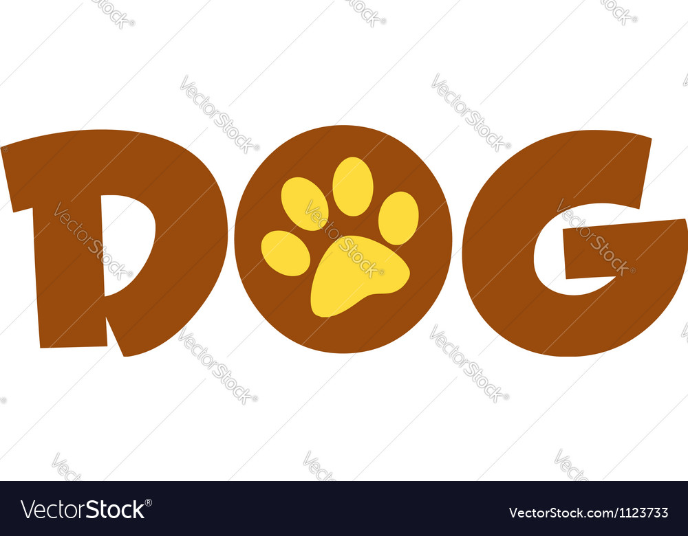 Brown dog text with paw print vector | Price: 1 Credit (USD $1)