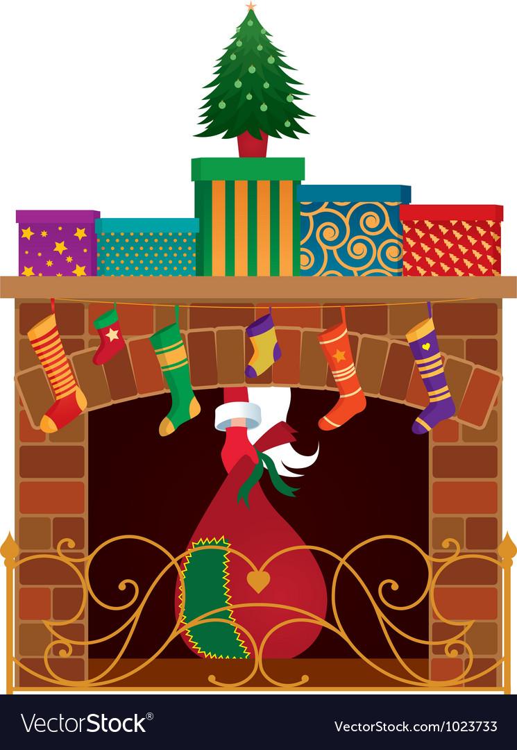 Christmas fireplace vector | Price: 3 Credit (USD $3)