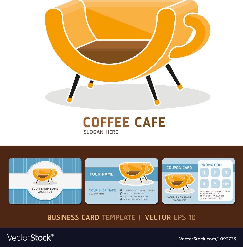 Coffee cafe icons logo and business card design vector | Price: 1 Credit (USD $1)