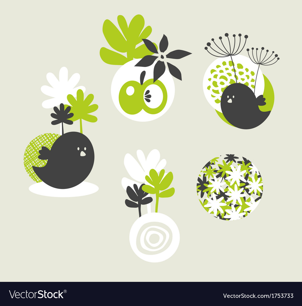 Design elements with birds and flowers vector | Price: 1 Credit (USD $1)
