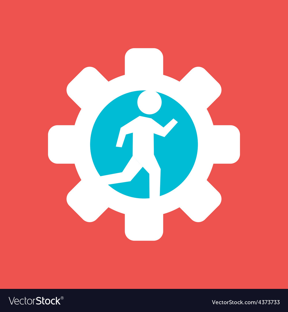 Gear wheel with running man vector | Price: 1 Credit (USD $1)