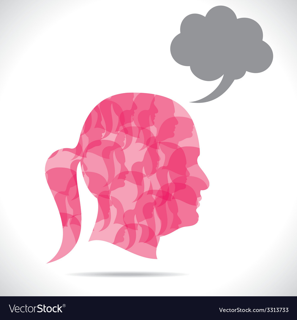 Group of women in human head vector | Price: 1 Credit (USD $1)