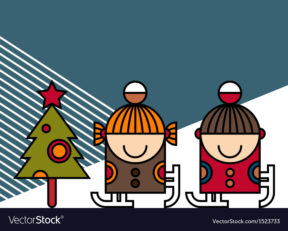 Ice skating kids and christmas tree vector | Price: 1 Credit (USD $1)