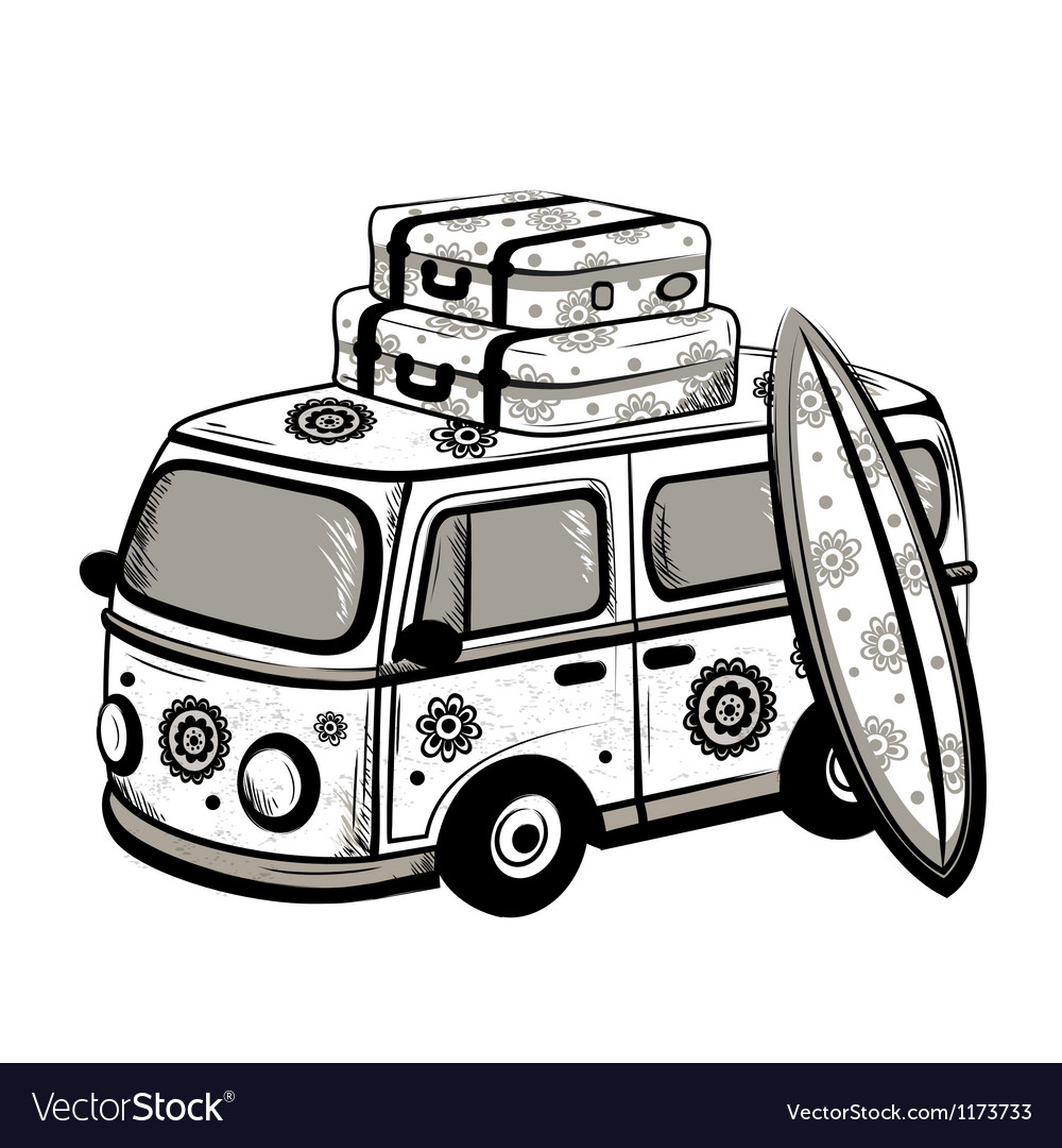 Retro travel bus vector | Price: 3 Credit (USD $3)