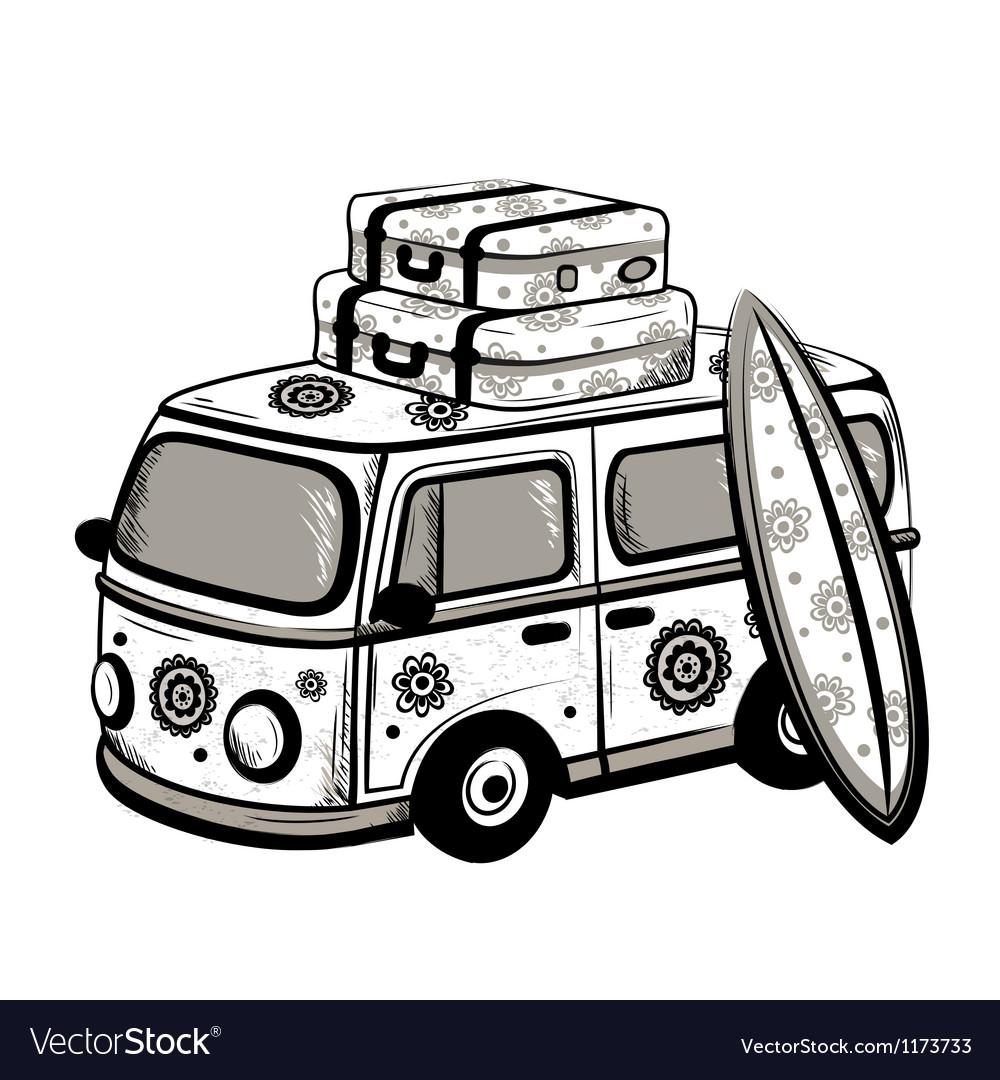 Retro travel bus vector | Price: 3 Credit (USD $3)