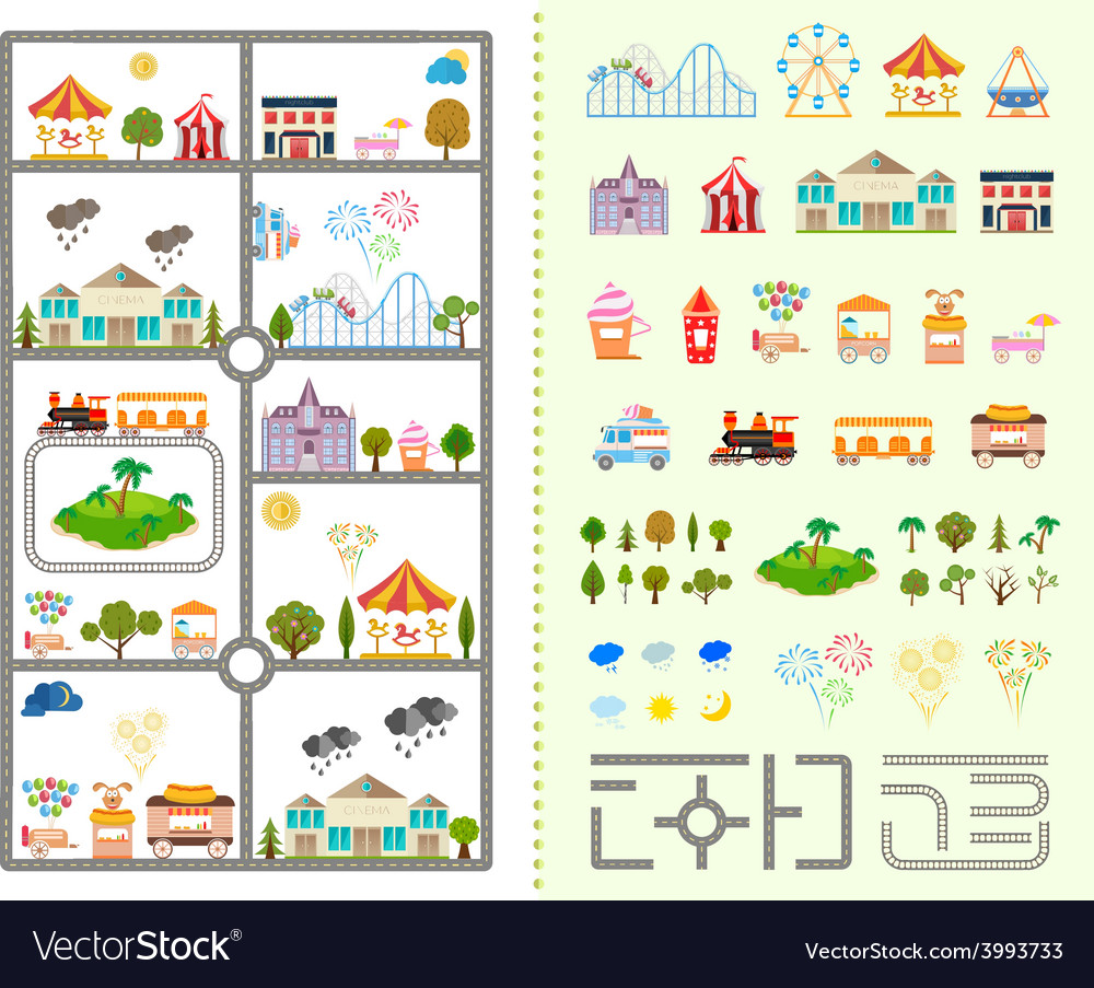Set of elements for creating your own city vector | Price: 1 Credit (USD $1)