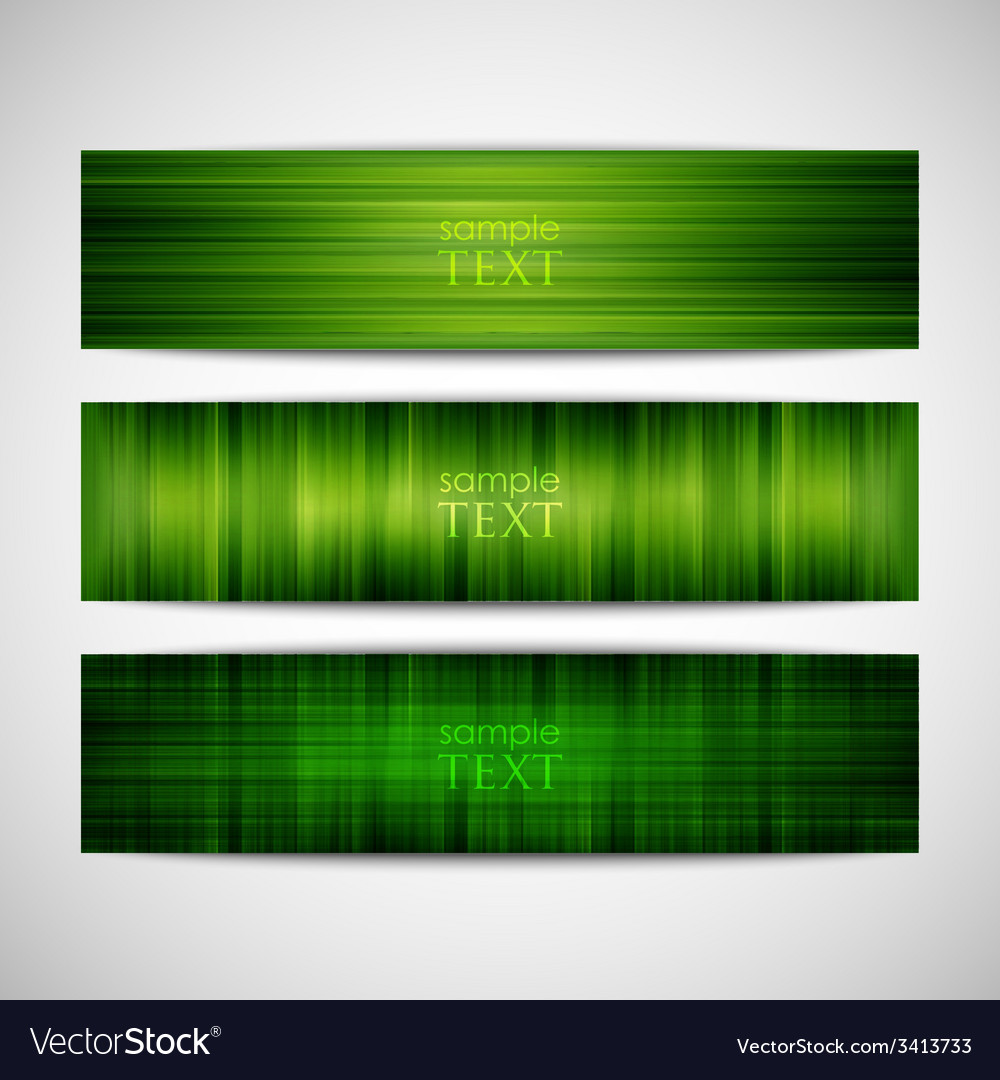 Set of green striped banners vector | Price: 1 Credit (USD $1)